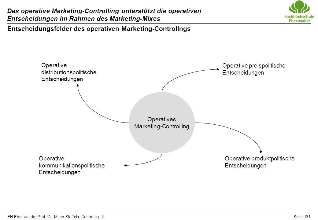 FH Eberswalde, Prof. Dr. Mario Stoffels, Controlling IISeite 131 Das operative Marketing-Controlling unterstützt die operativen Entscheidungen im Rahm
