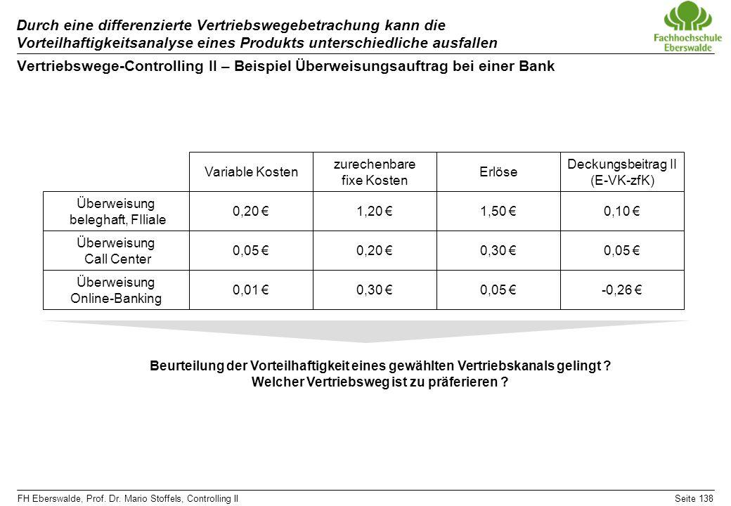FH Eberswalde, Prof. Dr. Mario Stoffels, Controlling IISeite 138 Durch eine differenzierte Vertriebswegebetrachung kann die Vorteilhaftigkeitsanalyse