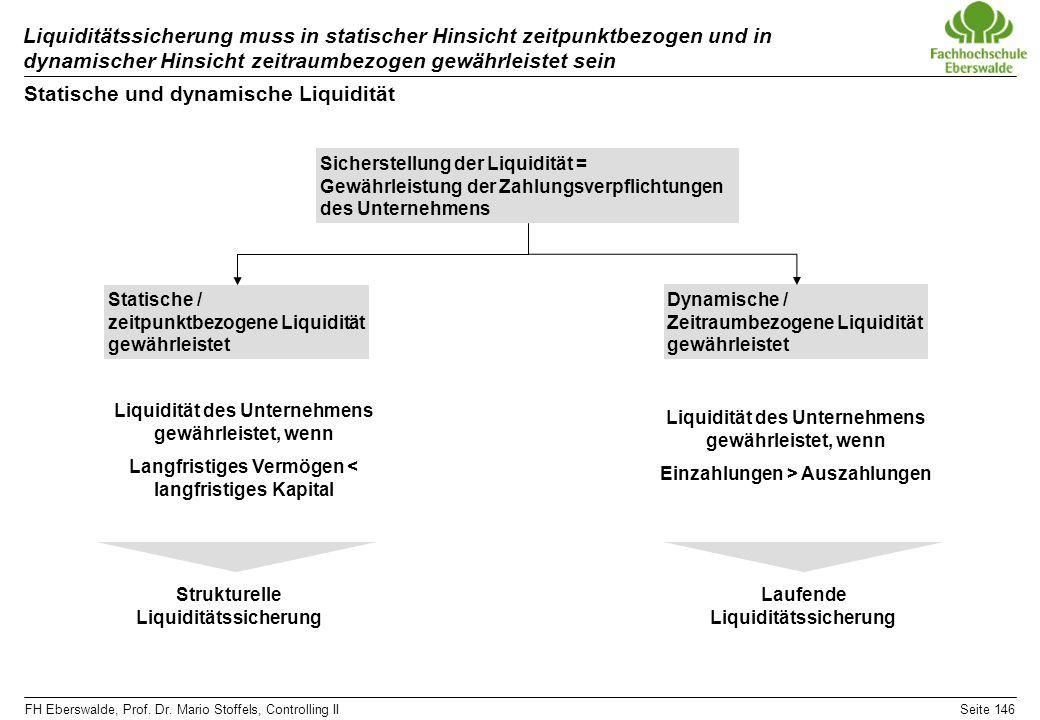 FH Eberswalde, Prof. Dr. Mario Stoffels, Controlling IISeite 146 Liquiditätssicherung muss in statischer Hinsicht zeitpunktbezogen und in dynamischer