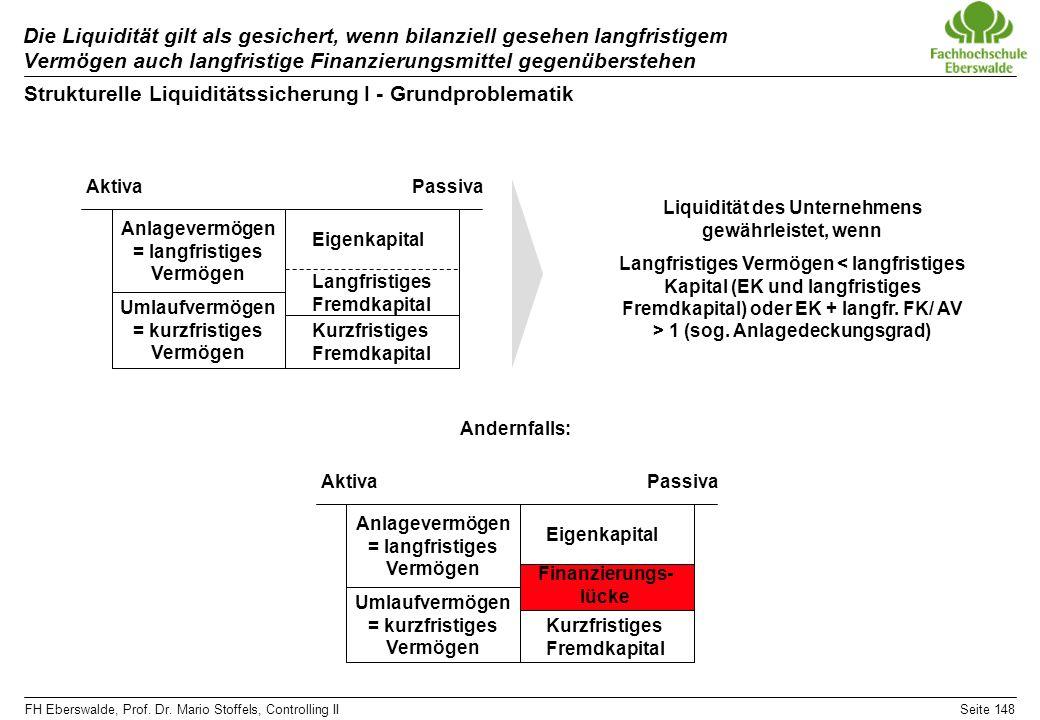 FH Eberswalde, Prof. Dr. Mario Stoffels, Controlling IISeite 148 Die Liquidität gilt als gesichert, wenn bilanziell gesehen langfristigem Vermögen auc