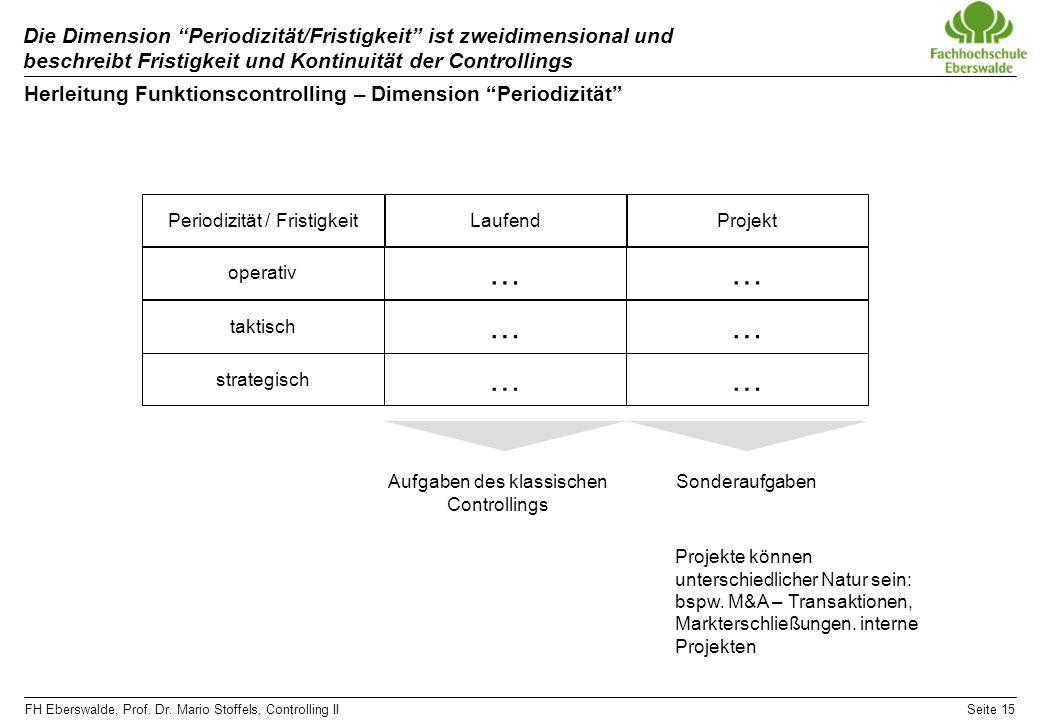 FH Eberswalde, Prof. Dr. Mario Stoffels, Controlling IISeite 15 Die Dimension Periodizität/Fristigkeit ist zweidimensional und beschreibt Fristigkeit