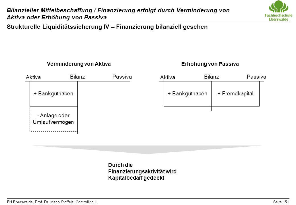 FH Eberswalde, Prof. Dr. Mario Stoffels, Controlling IISeite 151 Bilanzieller Mittelbeschaffung / Finanzierung erfolgt durch Verminderung von Aktiva o
