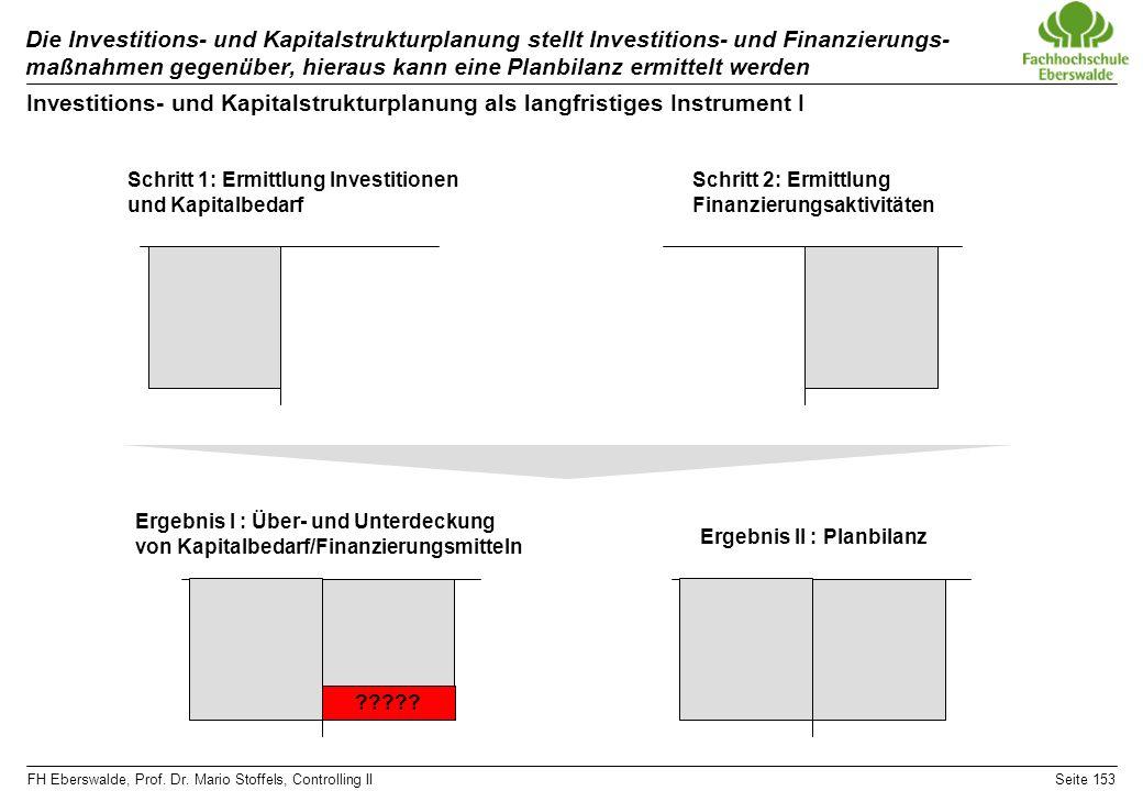 FH Eberswalde, Prof. Dr. Mario Stoffels, Controlling IISeite 153 Die Investitions- und Kapitalstrukturplanung stellt Investitions- und Finanzierungs-