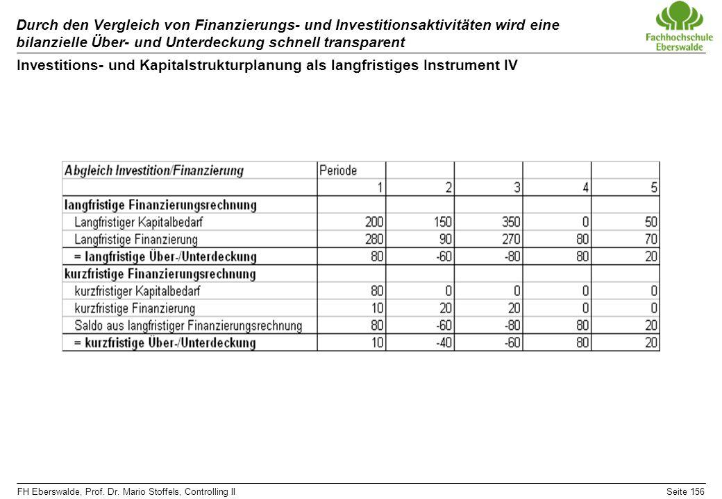 FH Eberswalde, Prof. Dr. Mario Stoffels, Controlling IISeite 156 Durch den Vergleich von Finanzierungs- und Investitionsaktivitäten wird eine bilanzie