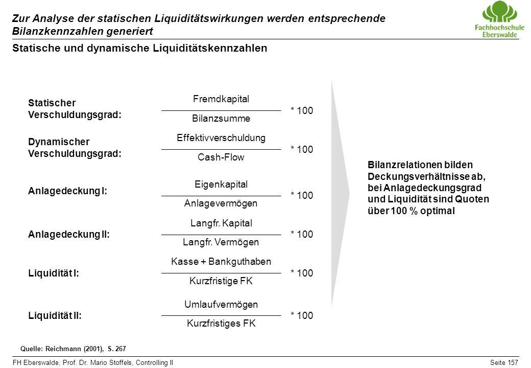 FH Eberswalde, Prof. Dr. Mario Stoffels, Controlling IISeite 157 Zur Analyse der statischen Liquiditätswirkungen werden entsprechende Bilanzkennzahlen