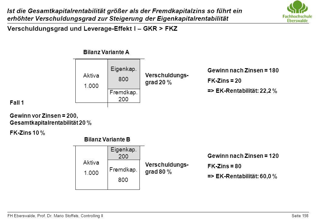 FH Eberswalde, Prof. Dr. Mario Stoffels, Controlling IISeite 158 Ist die Gesamtkapitalrentabilität größer als der Fremdkapitalzins so führt ein erhöht