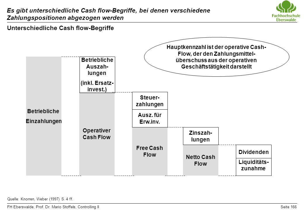 FH Eberswalde, Prof. Dr. Mario Stoffels, Controlling IISeite 166 Unterschiedliche Cash flow-Begriffe Es gibt unterschiedliche Cash flow-Begriffe, bei