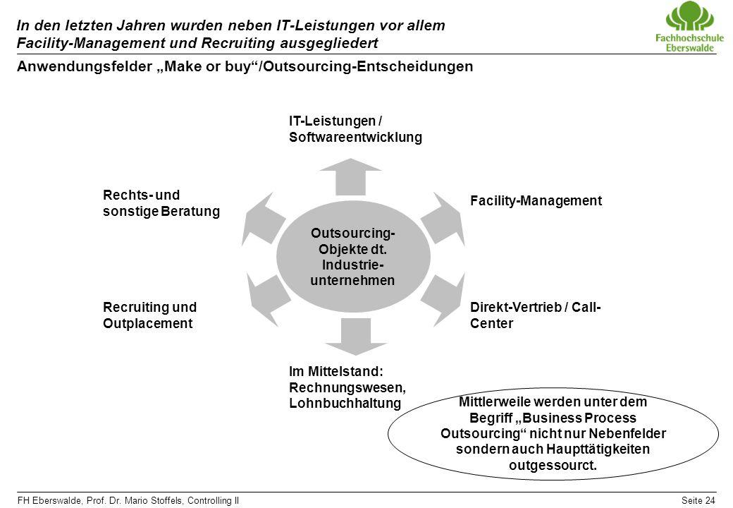 FH Eberswalde, Prof. Dr. Mario Stoffels, Controlling IISeite 24 In den letzten Jahren wurden neben IT-Leistungen vor allem Facility-Management und Rec