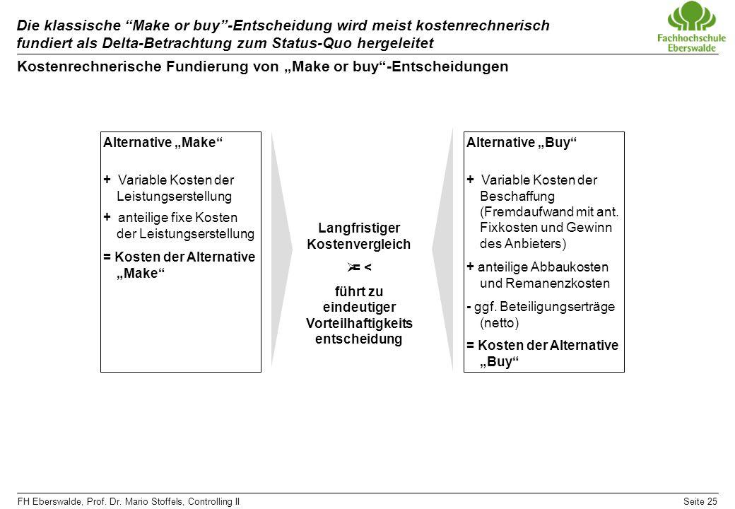 FH Eberswalde, Prof. Dr. Mario Stoffels, Controlling IISeite 25 Die klassische Make or buy-Entscheidung wird meist kostenrechnerisch fundiert als Delt