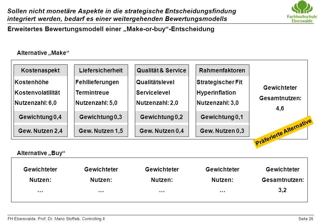 FH Eberswalde, Prof. Dr. Mario Stoffels, Controlling IISeite 26 Sollen nicht monetäre Aspekte in die strategische Entscheidungsfindung integriert werd