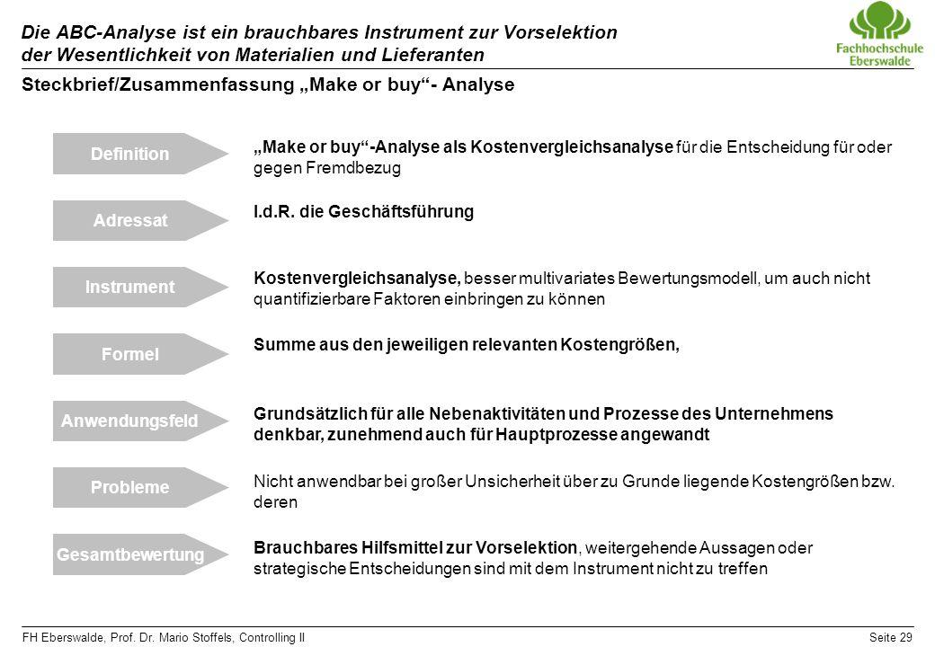 FH Eberswalde, Prof. Dr. Mario Stoffels, Controlling IISeite 29 Die ABC-Analyse ist ein brauchbares Instrument zur Vorselektion der Wesentlichkeit von