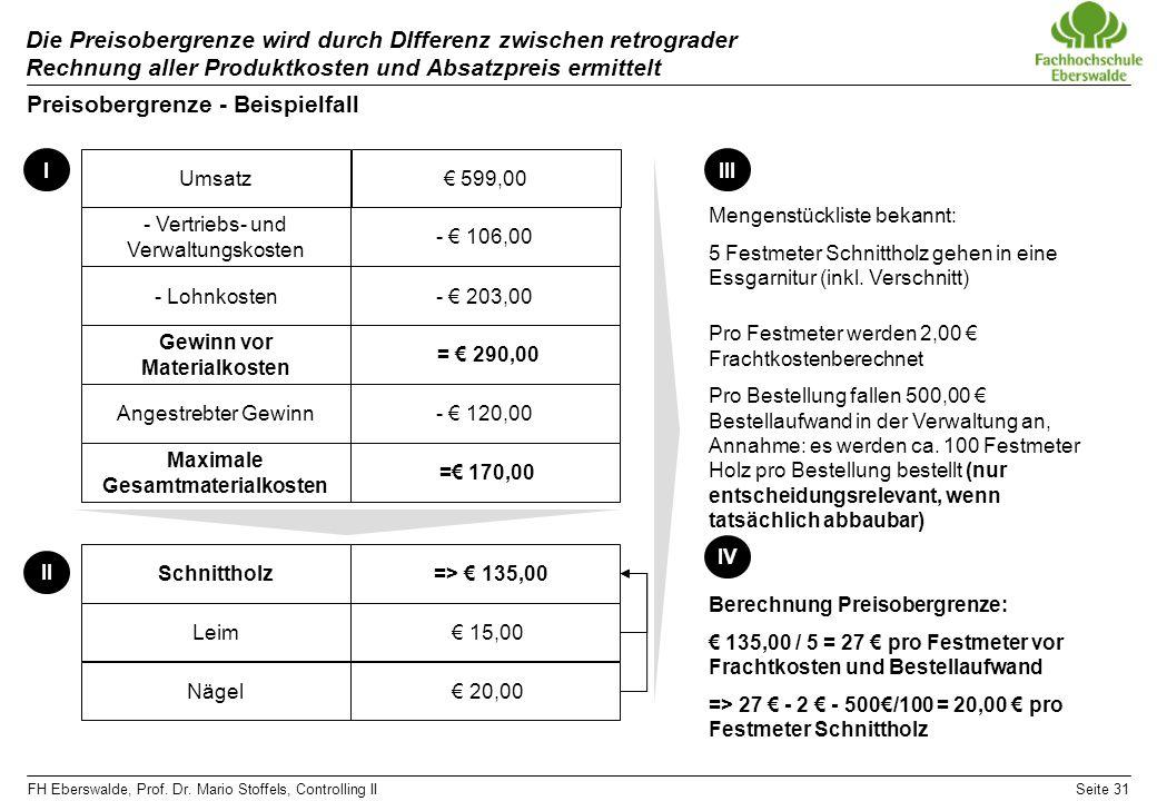 FH Eberswalde, Prof. Dr. Mario Stoffels, Controlling IISeite 31 Die Preisobergrenze wird durch DIfferenz zwischen retrograder Rechnung aller Produktko