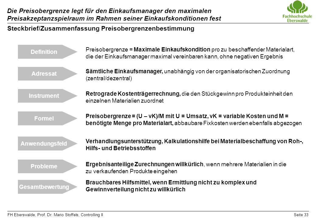FH Eberswalde, Prof. Dr. Mario Stoffels, Controlling IISeite 33 Die Preisobergrenze legt für den Einkaufsmanager den maximalen Preisakzeptanzspielraum
