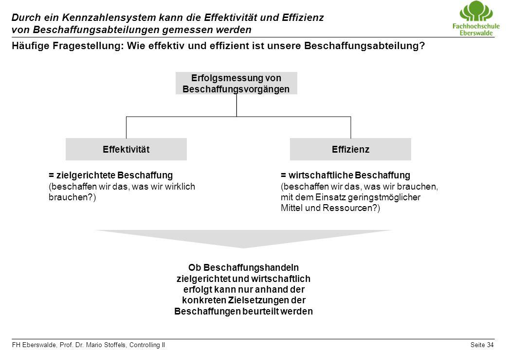 FH Eberswalde, Prof. Dr. Mario Stoffels, Controlling IISeite 34 Durch ein Kennzahlensystem kann die Effektivität und Effizienz von Beschaffungsabteilu