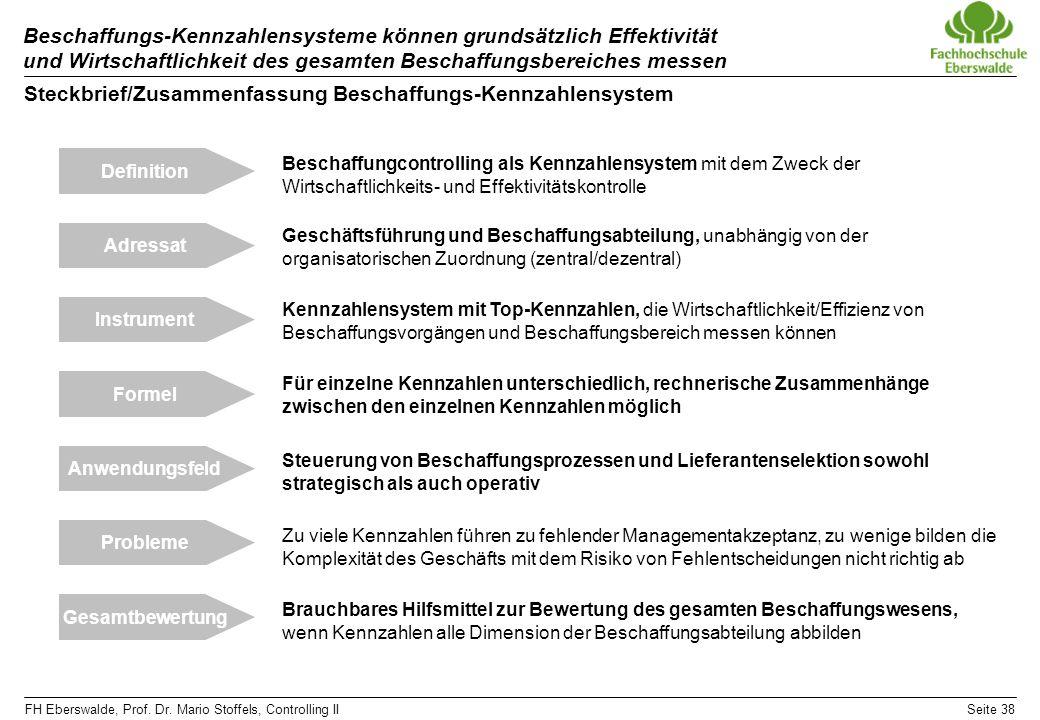 FH Eberswalde, Prof. Dr. Mario Stoffels, Controlling IISeite 38 Beschaffungs-Kennzahlensysteme können grundsätzlich Effektivität und Wirtschaftlichkei