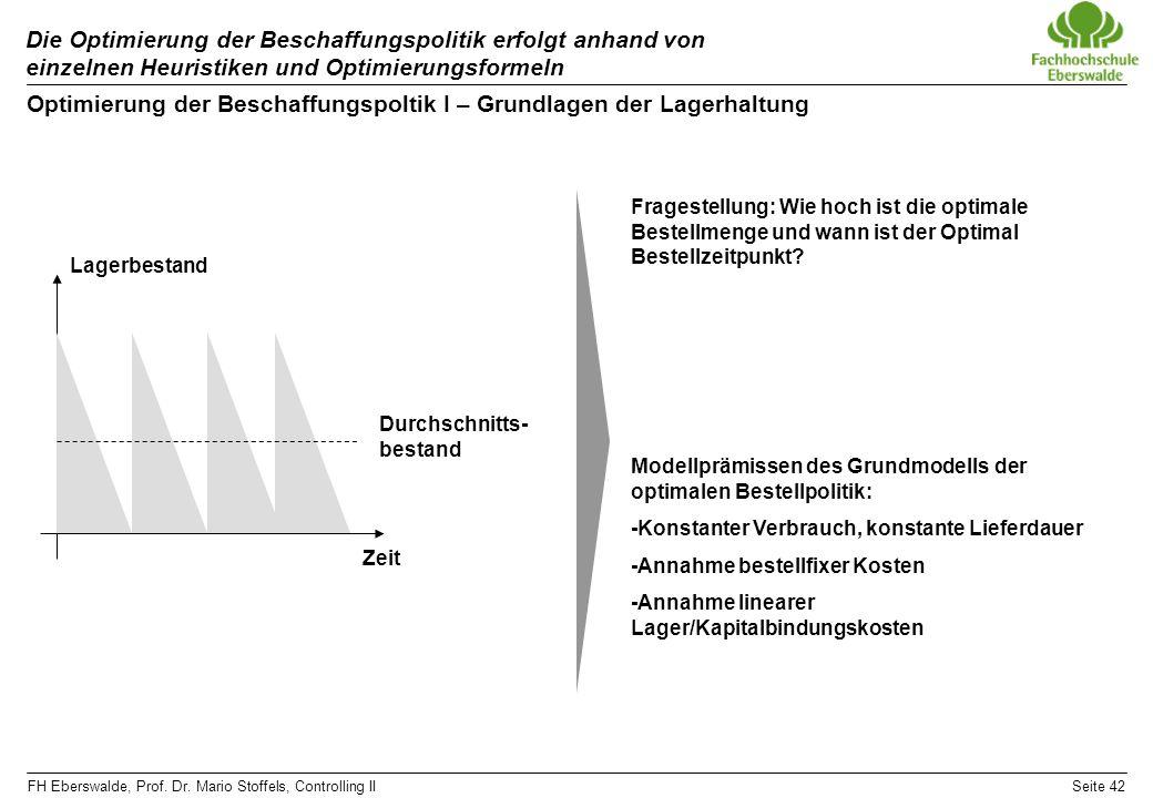 FH Eberswalde, Prof. Dr. Mario Stoffels, Controlling IISeite 42 Die Optimierung der Beschaffungspolitik erfolgt anhand von einzelnen Heuristiken und O