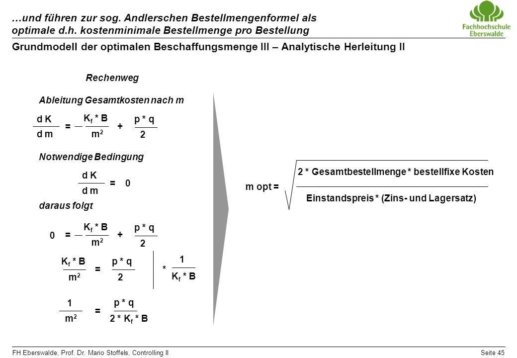 FH Eberswalde, Prof. Dr. Mario Stoffels, Controlling IISeite 45 …und führen zur sog. Andlerschen Bestellmengenformel als optimale d.h. kostenminimale
