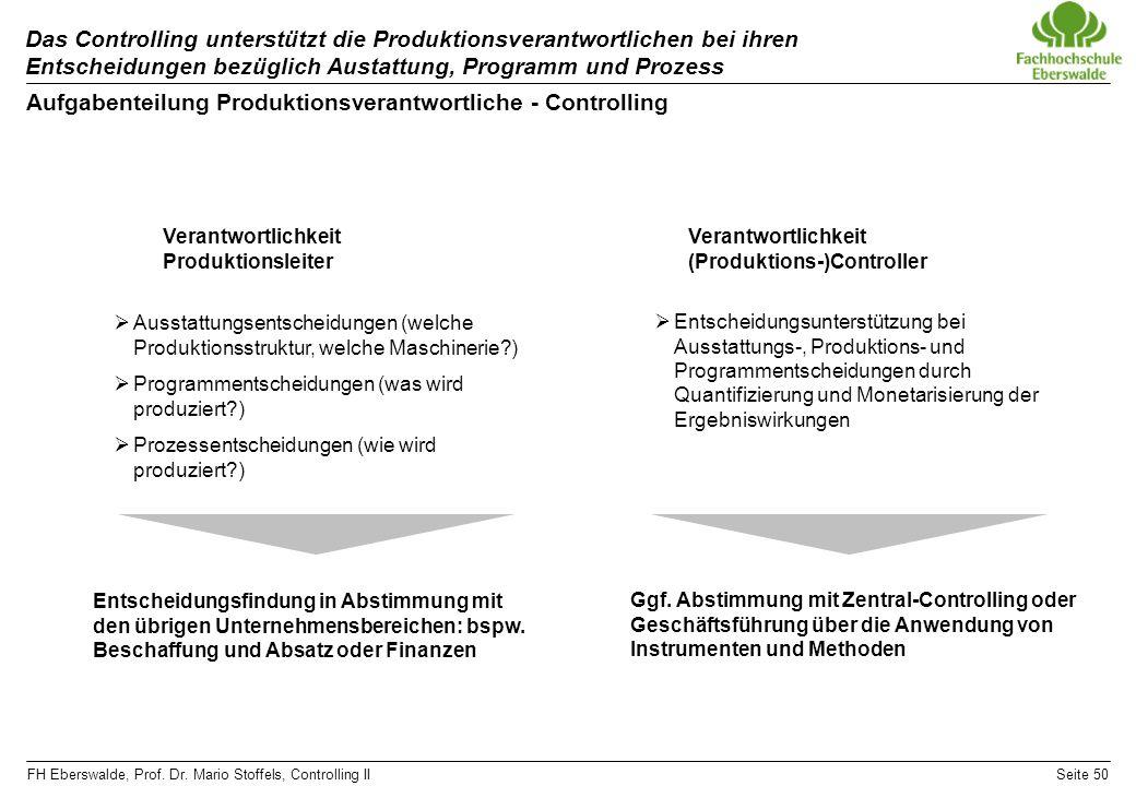 FH Eberswalde, Prof. Dr. Mario Stoffels, Controlling IISeite 50 Das Controlling unterstützt die Produktionsverantwortlichen bei ihren Entscheidungen b