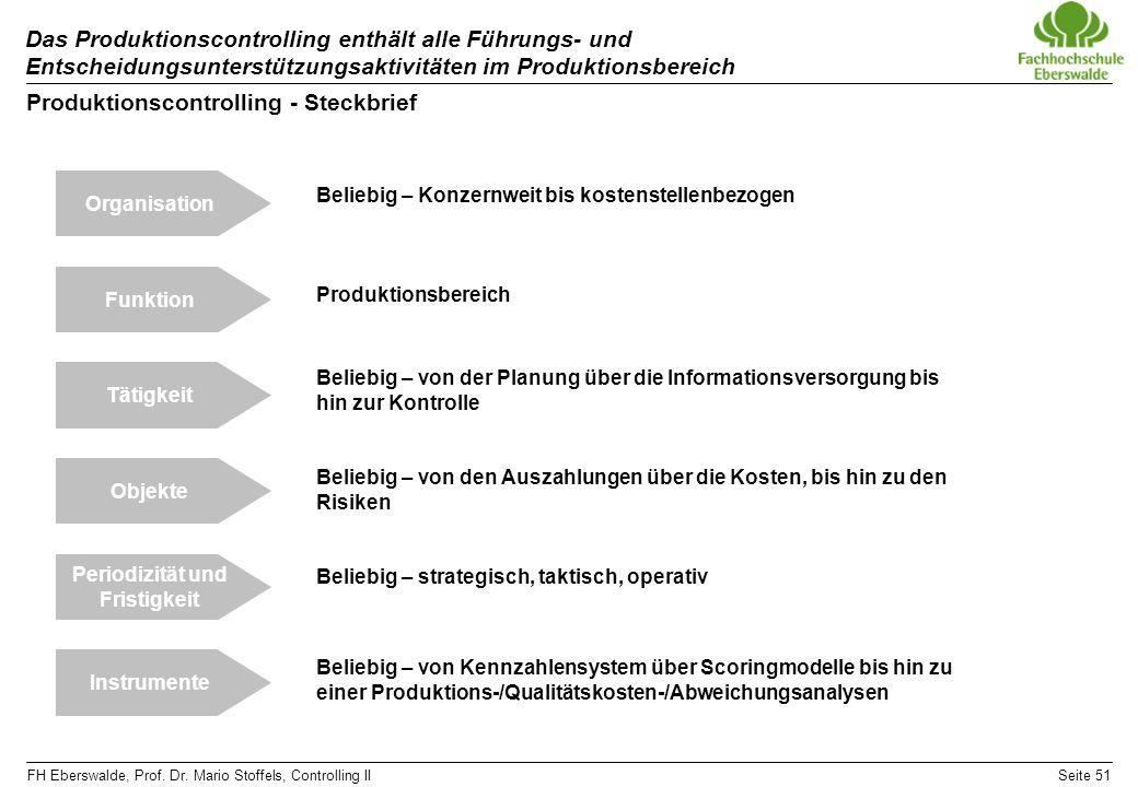 FH Eberswalde, Prof. Dr. Mario Stoffels, Controlling IISeite 51 Das Produktionscontrolling enthält alle Führungs- und Entscheidungsunterstützungsaktiv