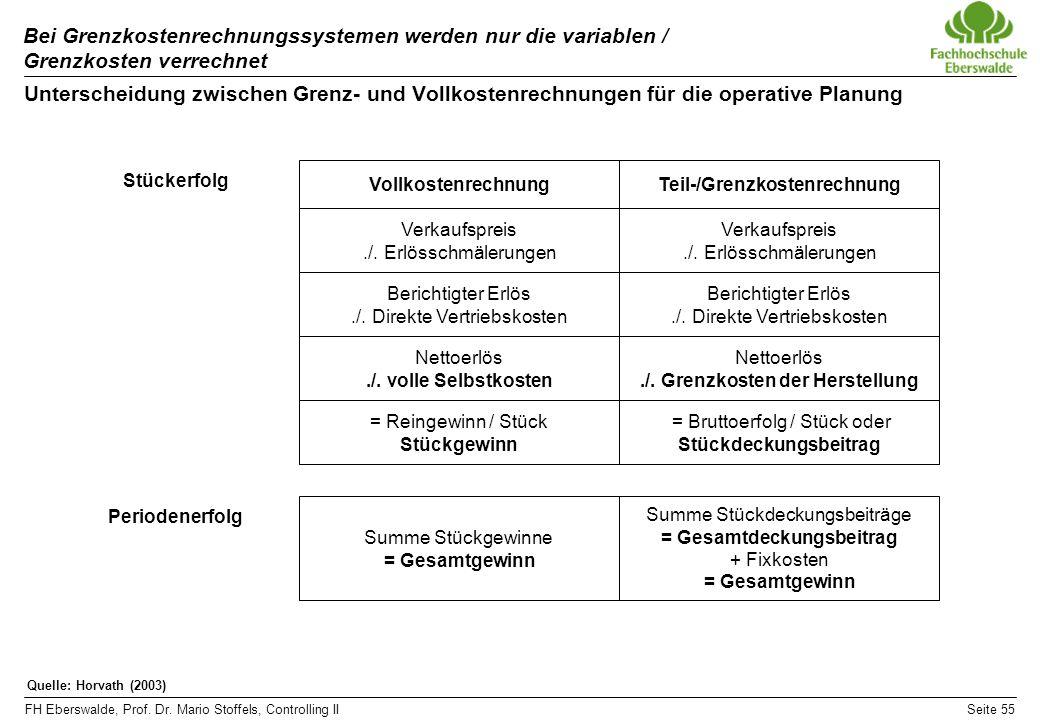 FH Eberswalde, Prof. Dr. Mario Stoffels, Controlling IISeite 55 Bei Grenzkostenrechnungssystemen werden nur die variablen / Grenzkosten verrechnet Unt