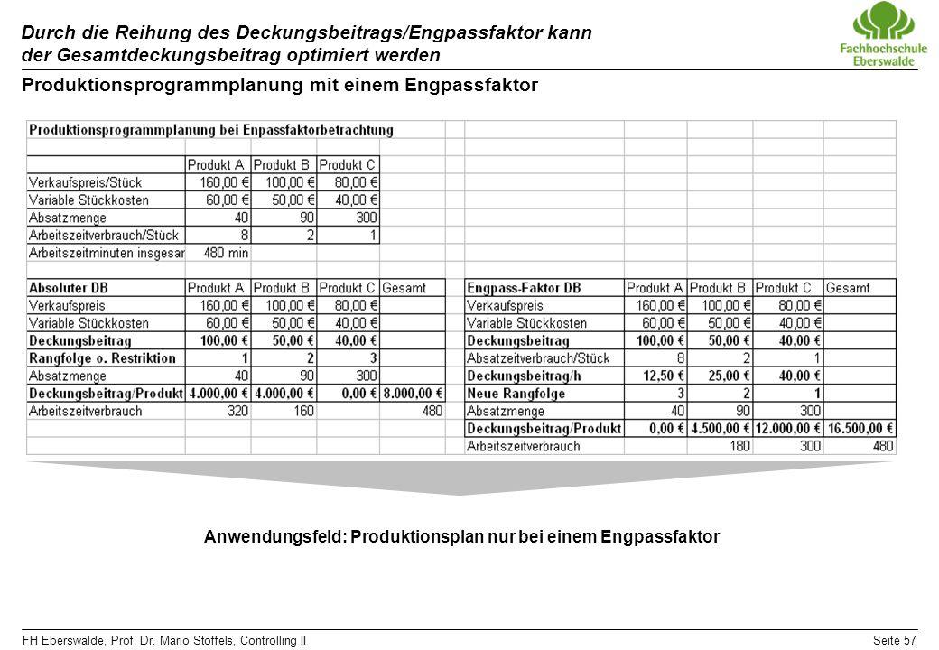 FH Eberswalde, Prof. Dr. Mario Stoffels, Controlling IISeite 57 Durch die Reihung des Deckungsbeitrags/Engpassfaktor kann der Gesamtdeckungsbeitrag op