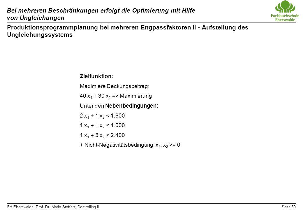 FH Eberswalde, Prof. Dr. Mario Stoffels, Controlling IISeite 59 Bei mehreren Beschränkungen erfolgt die Optimierung mit Hilfe von Ungleichungen Produk