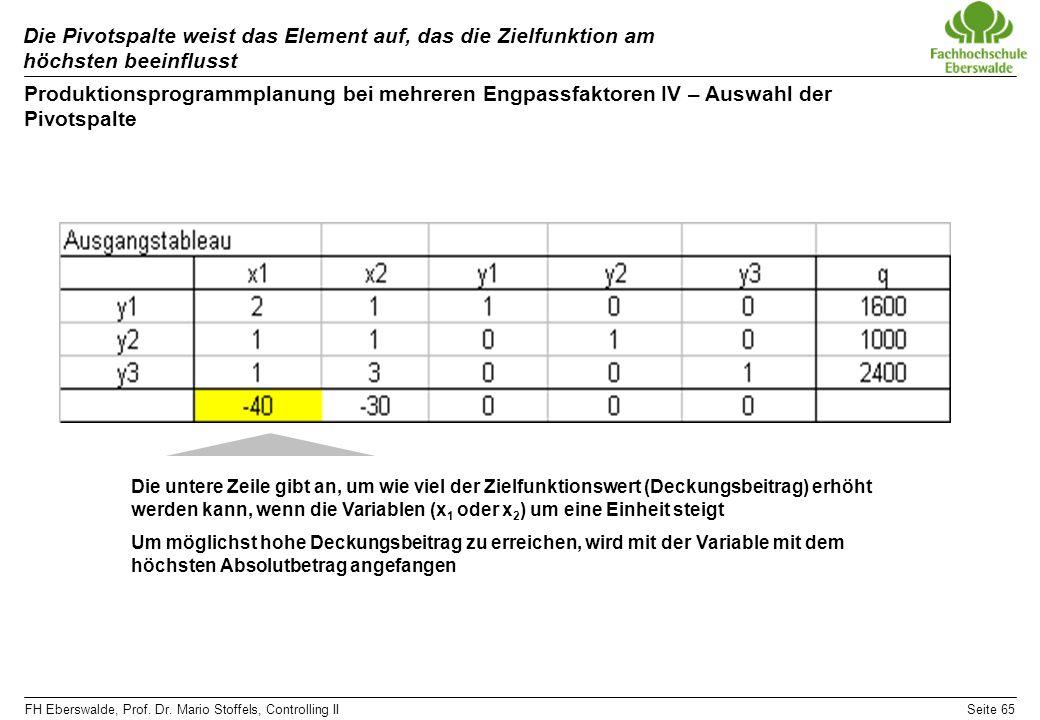 FH Eberswalde, Prof. Dr. Mario Stoffels, Controlling IISeite 65 Die Pivotspalte weist das Element auf, das die Zielfunktion am höchsten beeinflusst Pr