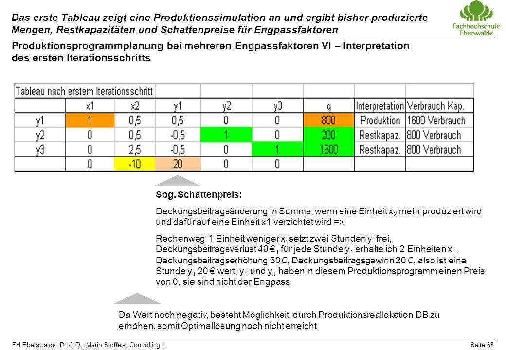 FH Eberswalde, Prof. Dr. Mario Stoffels, Controlling IISeite 68 Das erste Tableau zeigt eine Produktionssimulation an und ergibt bisher produzierte Me