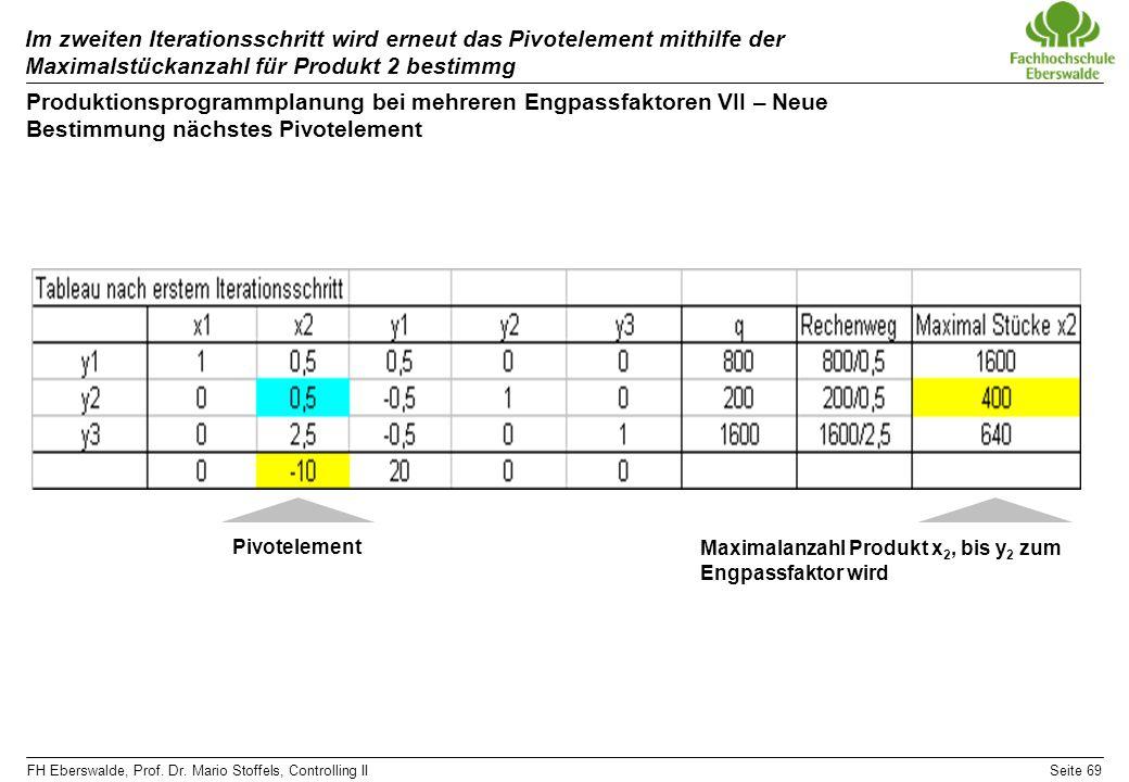 FH Eberswalde, Prof. Dr. Mario Stoffels, Controlling IISeite 69 Im zweiten Iterationsschritt wird erneut das Pivotelement mithilfe der Maximalstückanz