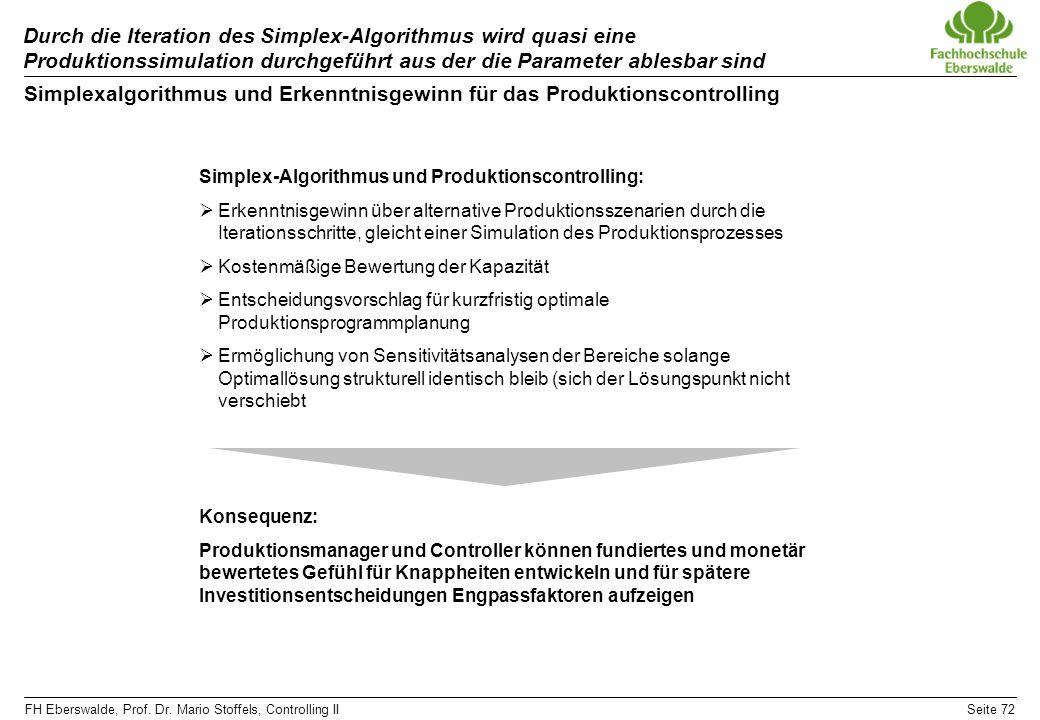 FH Eberswalde, Prof. Dr. Mario Stoffels, Controlling IISeite 72 Durch die Iteration des Simplex-Algorithmus wird quasi eine Produktionssimulation durc