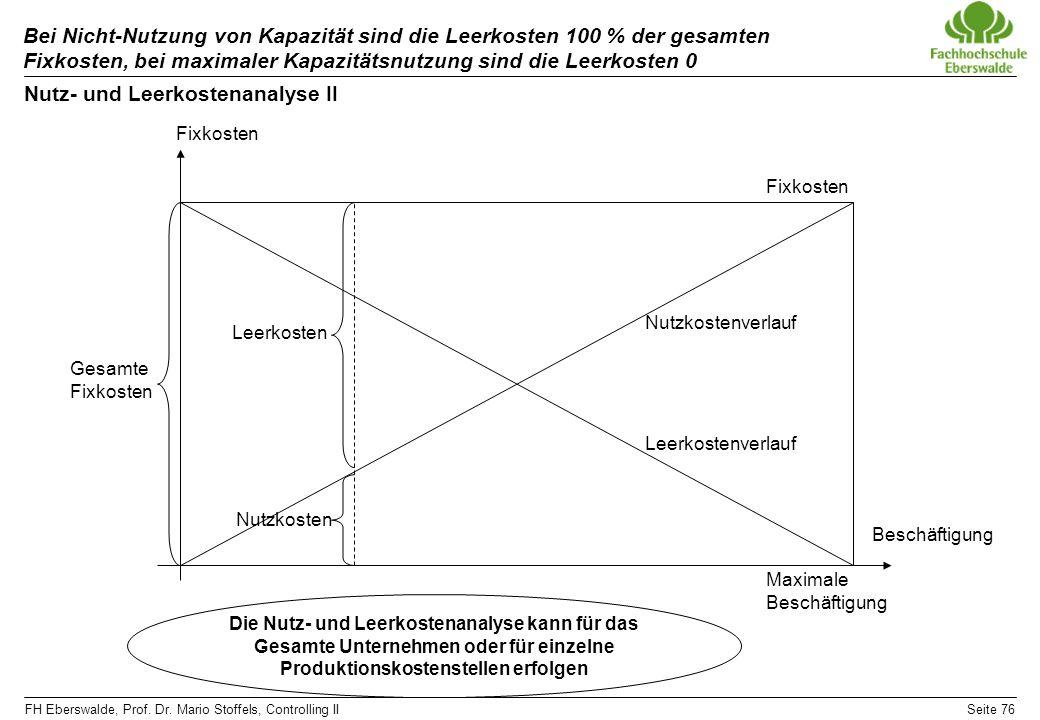 FH Eberswalde, Prof. Dr. Mario Stoffels, Controlling IISeite 76 Bei Nicht-Nutzung von Kapazität sind die Leerkosten 100 % der gesamten Fixkosten, bei