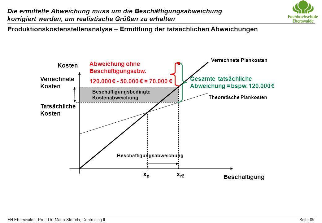 FH Eberswalde, Prof. Dr. Mario Stoffels, Controlling IISeite 85 Die ermittelte Abweichung muss um die Beschäftigungsabweichung korrigiert werden, um r