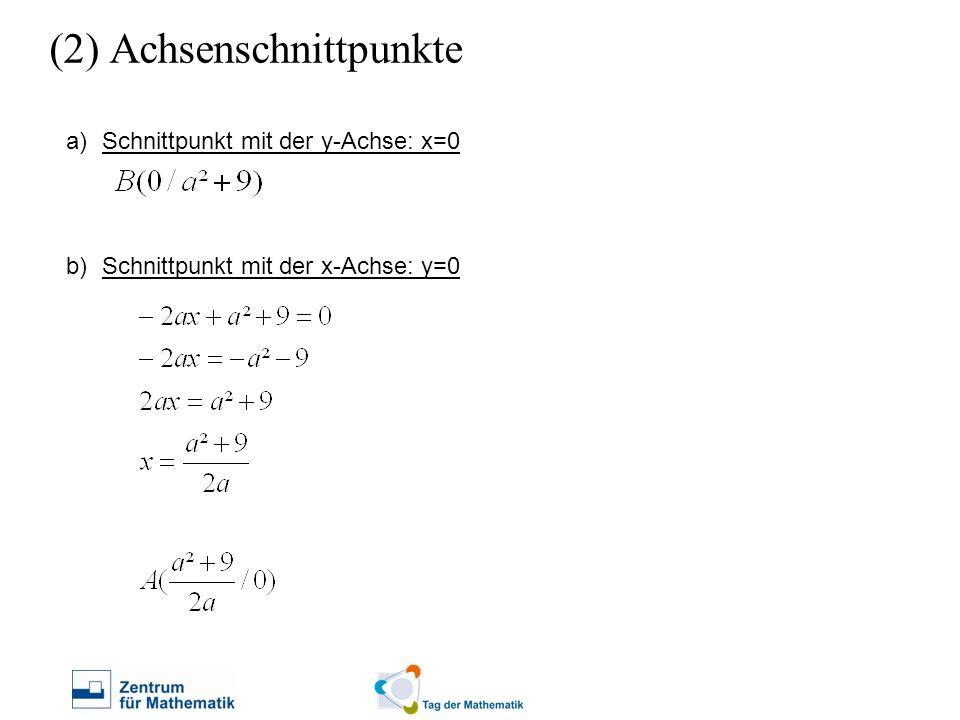 a)Schnittpunkt mit der y-Achse: x=0 b)Schnittpunkt mit der x-Achse: y=0 (2) Achsenschnittpunkte