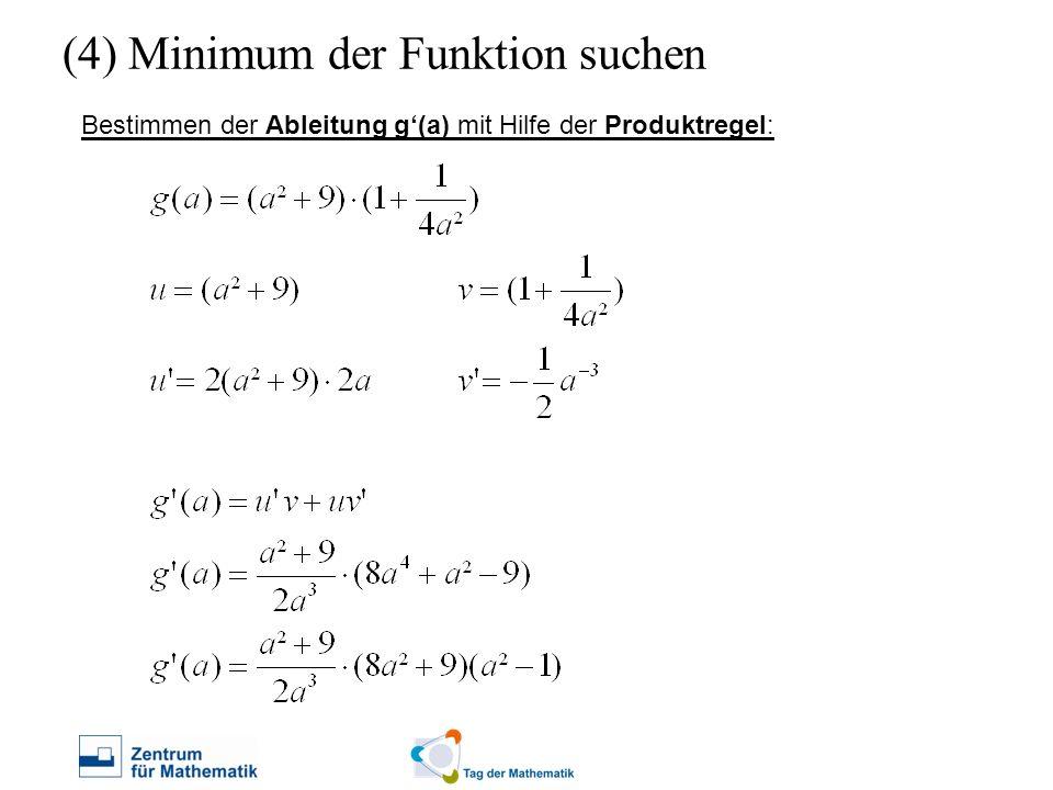 (4) Minimum der Funktion suchen Bestimmen der Ableitung g(a) mit Hilfe der Produktregel: