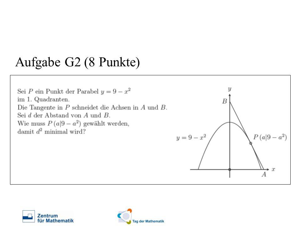 Gegeben war folgende Konstellation: Aufgabe G2 (8 Punkte) Frage: Wie muss der Punkt P gewählt werden, damit der Abstand zwischen den Punkten A und B minimal wird?