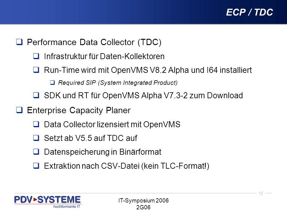 12 IT-Symposium 2006 2G06 ECP / TDC Performance Data Collector (TDC) Infrastruktur für Daten-Kollektoren Run-Time wird mit OpenVMS V8.2 Alpha und I64