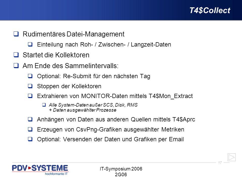 17 IT-Symposium 2006 2G06 T4$Collect Rudimentäres Datei-Management Einteilung nach Roh- / Zwischen- / Langzeit-Daten Startet die Kollektoren Am Ende d