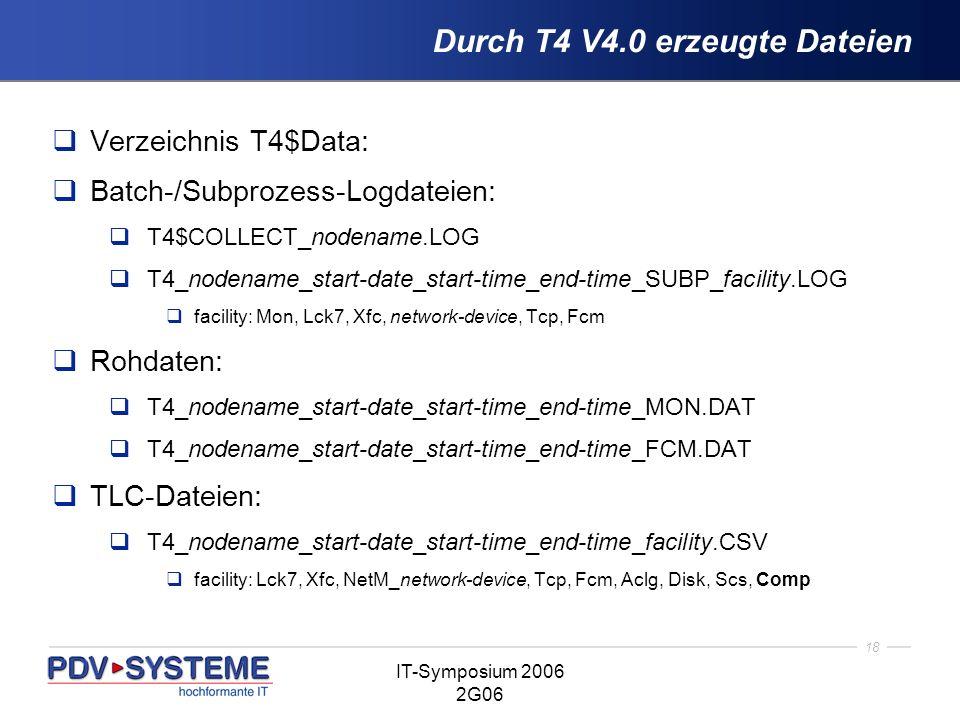 18 IT-Symposium 2006 2G06 Durch T4 V4.0 erzeugte Dateien Verzeichnis T4$Data: Batch-/Subprozess-Logdateien: T4$COLLECT_nodename.LOG T4_nodename_start-