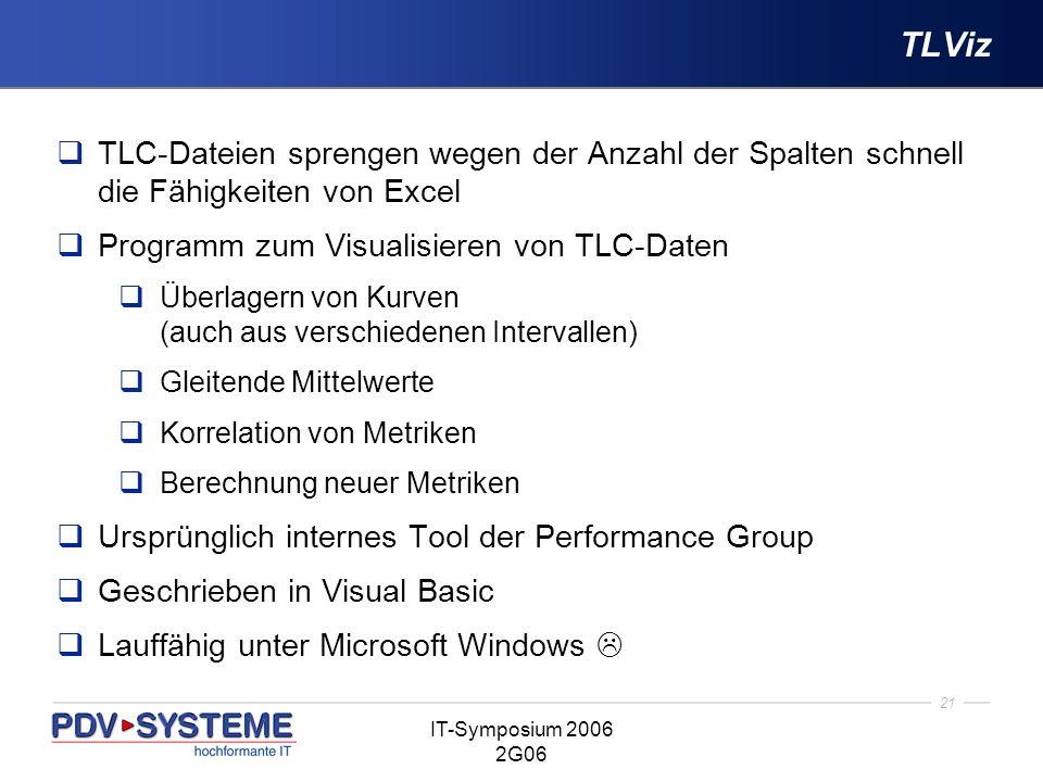 21 IT-Symposium 2006 2G06 TLViz TLC-Dateien sprengen wegen der Anzahl der Spalten schnell die Fähigkeiten von Excel Programm zum Visualisieren von TLC