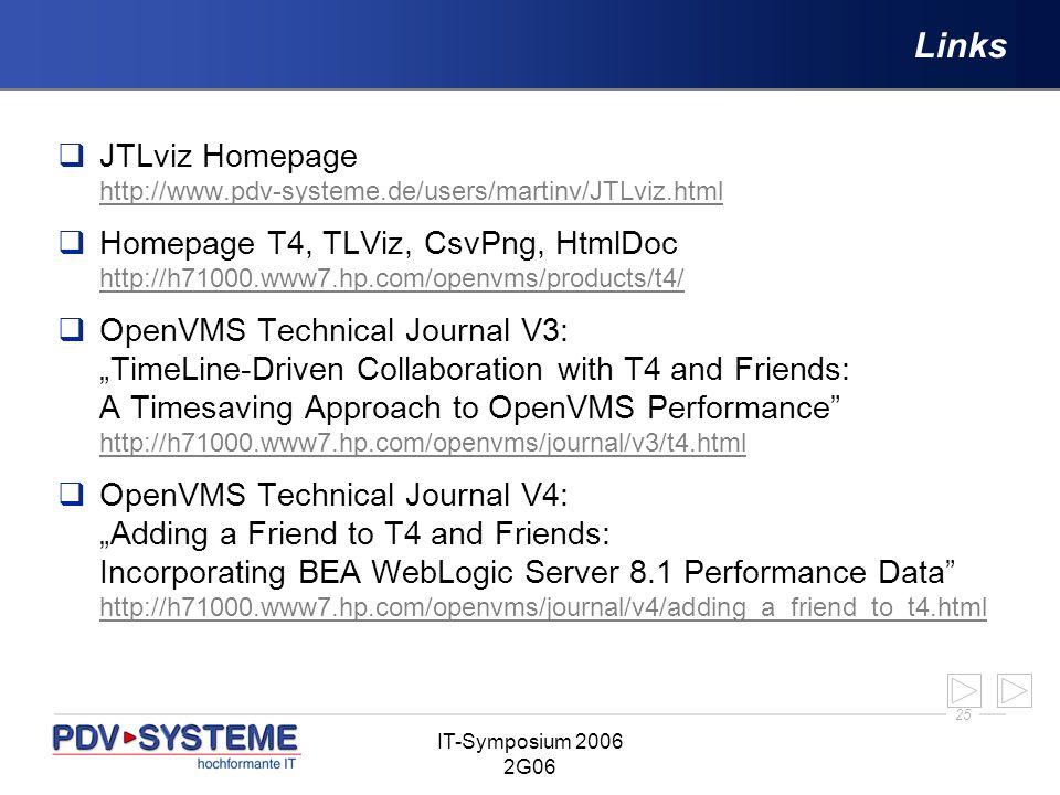 25 IT-Symposium 2006 2G06 Links JTLviz Homepage http://www.pdv-systeme.de/users/martinv/JTLviz.html http://www.pdv-systeme.de/users/martinv/JTLviz.htm
