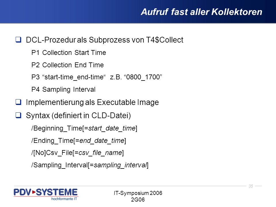 35 IT-Symposium 2006 2G06 Aufruf fast aller Kollektoren DCL-Prozedur als Subprozess von T4$Collect P1Collection Start Time P2Collection End Time P3sta