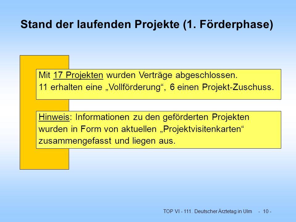 TOP VI - 111. Deutscher Ärztetag in Ulm - 10 - Stand der laufenden Projekte (1. Förderphase) Mit 17 Projekten wurden Verträge abgeschlossen. 11 erhalt
