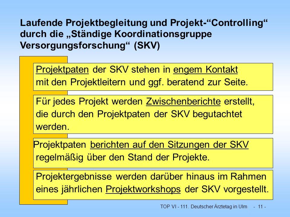 TOP VI - 111. Deutscher Ärztetag in Ulm - 11 - Laufende Projektbegleitung und Projekt-Controlling durch die Ständige Koordinationsgruppe Versorgungsfo