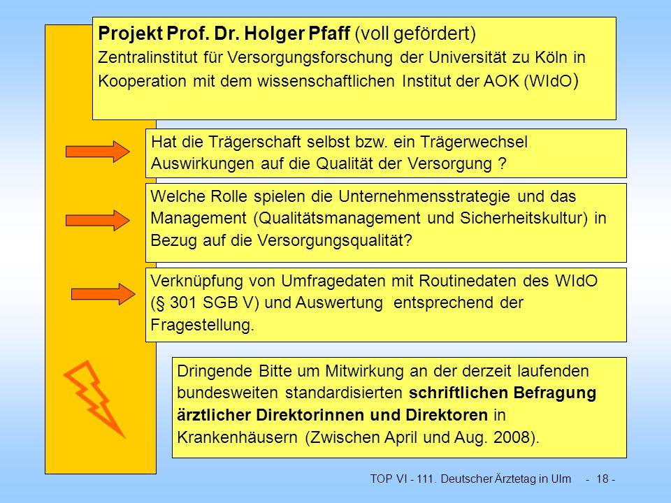 TOP VI - 111. Deutscher Ärztetag in Ulm - 18 - Projekt Prof. Dr. Holger Pfaff (voll gefördert) Zentralinstitut für Versorgungsforschung der Universitä