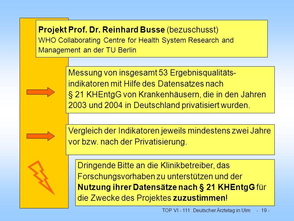 TOP VI - 111. Deutscher Ärztetag in Ulm - 19 - Projekt Prof. Dr. Reinhard Busse (bezuschusst) WHO Collaborating Centre for Health System Research and