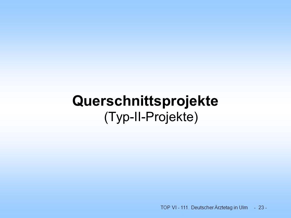 TOP VI - 111. Deutscher Ärztetag in Ulm - 23 - Querschnittsprojekte (Typ-II-Projekte)