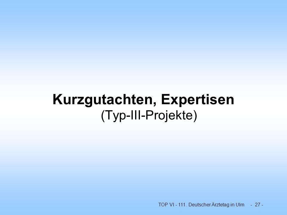 TOP VI - 111. Deutscher Ärztetag in Ulm - 27 - Kurzgutachten, Expertisen (Typ-III-Projekte)