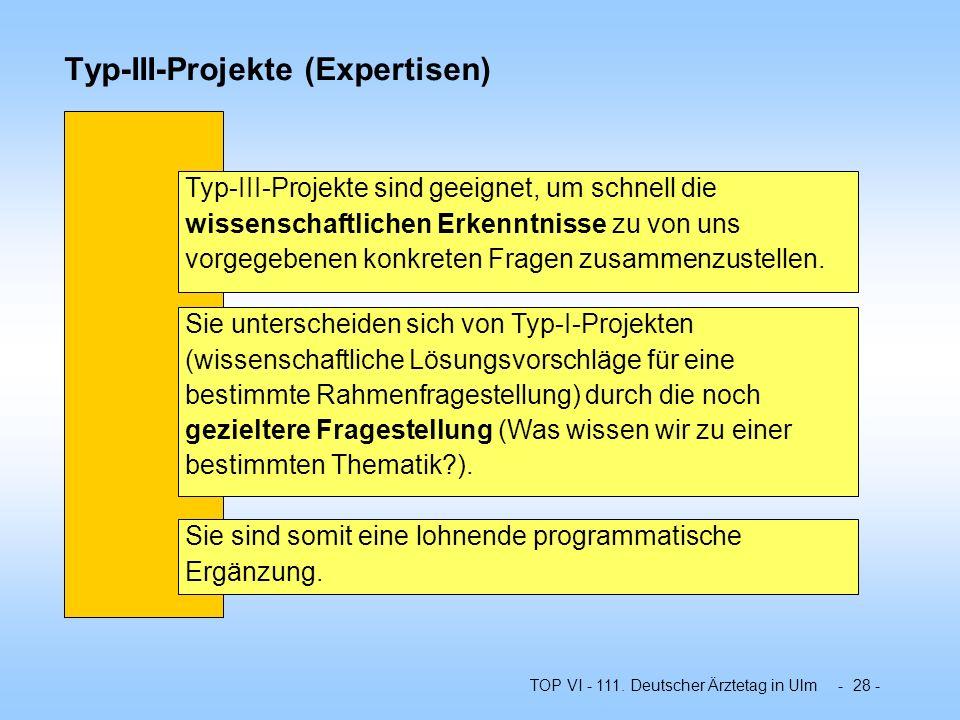 TOP VI - 111. Deutscher Ärztetag in Ulm - 28 - Typ-III-Projekte (Expertisen) Typ-III-Projekte sind geeignet, um schnell die wissenschaftlichen Erkennt