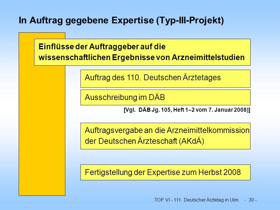 TOP VI - 111. Deutscher Ärztetag in Ulm - 30 - In Auftrag gegebene Expertise (Typ-III-Projekt) Einflüsse der Auftraggeber auf die wissenschaftlichen E