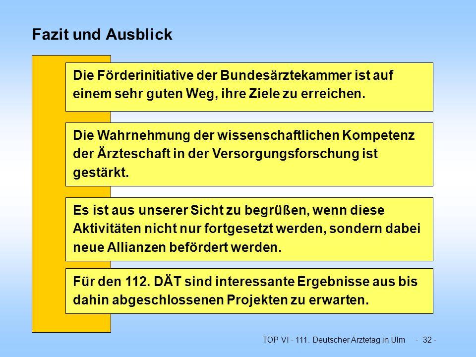 TOP VI - 111. Deutscher Ärztetag in Ulm - 32 - Fazit und Ausblick Für den 112. DÄT sind interessante Ergebnisse aus bis dahin abgeschlossenen Projekte
